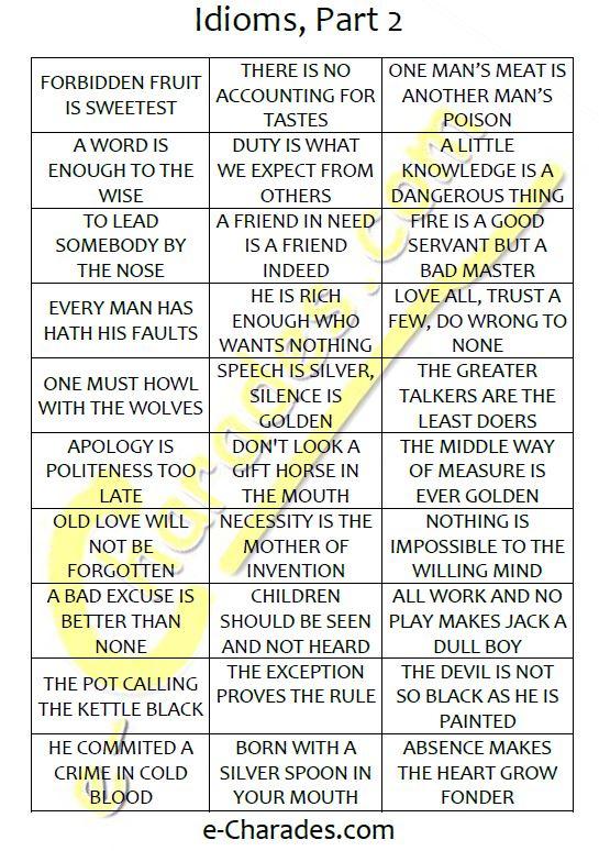 free printable word list e charades